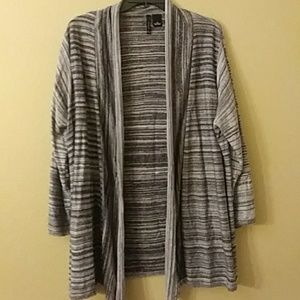 Black and grey stripe open front sweater